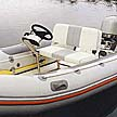 Inflatable boat seating and steering options